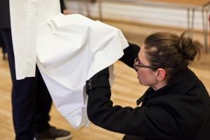 Anja Hertenberger altering one of the lace sensor dresses