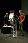 Colin with the map, Lindsay Macgregor with the poem: photo by Helena Fornells Nadal