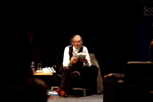 Clive Russell in conversation at StAnza 2015,                   photo by Terry Lee
